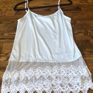 Tops - white lace tank top